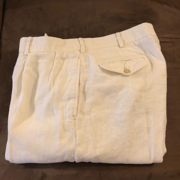 2aaef67c58 Polo Ralph Lauren White Linen Dress Pants 35x32. M 5a5cd1e705f430298212c0c3